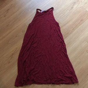 Burgundy tank T-shirt dress